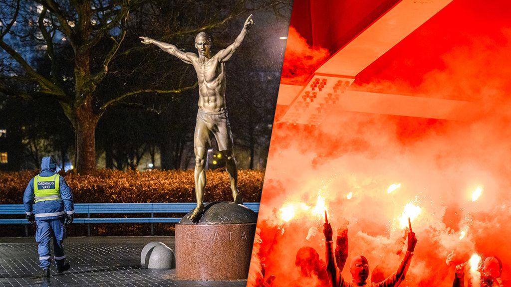 EXTRA: Attack mot Zlatanstatyn med pyroteknik ikväll